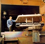 The copper firebox was repaired in TWI's state-of-the-art electron beam chamber