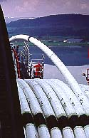 Pipe being wound onto reel at the onshore spoolbase. Courtesy Coflexip Stena
