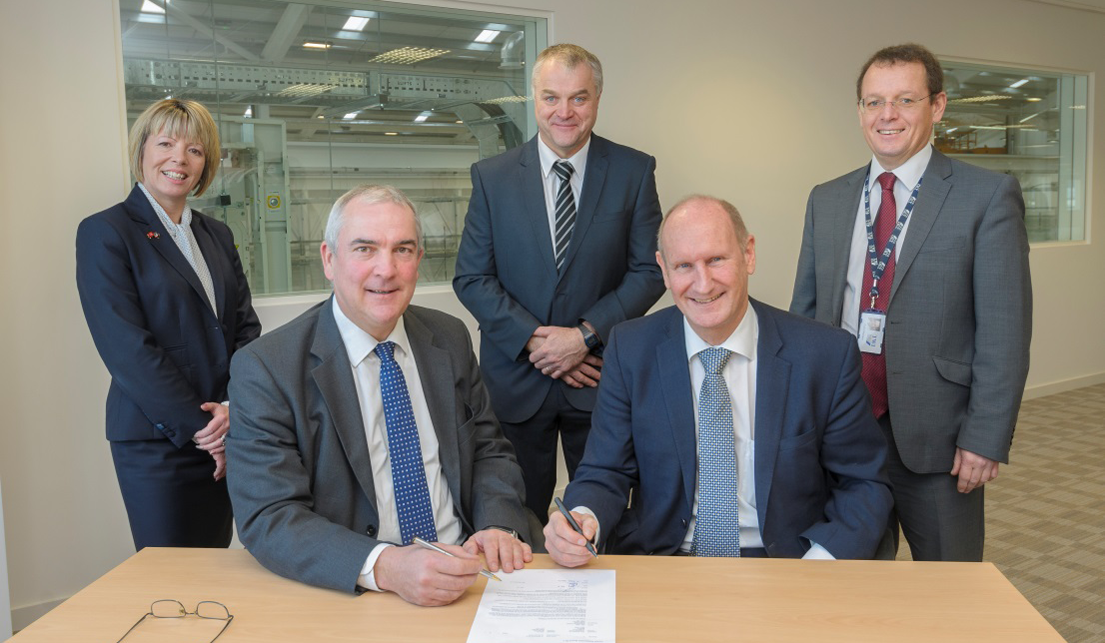 Francis Shiner, Managing Director of SDC (right) hands over the new laboratory space to Christoph Wiesner, Chief Executive, TWI. Also representing TWI were Finance Director Gillian Leech, Laboratory Manager Edward Watts and Site Development Project M