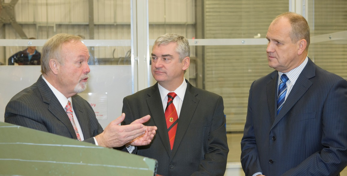 Chairman of the Swansea Bay City Region Board, Sir Terry Matthews, with TWI's Philip Wallace and Ian Cooper.