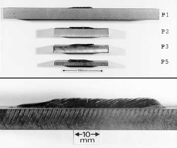 Fig.1a Drop-weight test specimens: Side view. Lower photo shows close-up of weld-bead and notch