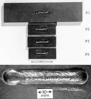 Fig.1b Drop-weight test specimens: Top view. Lower photo shows close-up of weld-bead with central notch just visible as thin black line