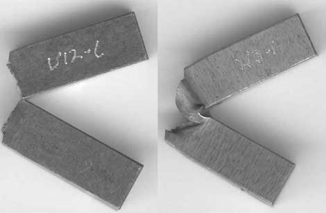 Fig. 1. Charpy specimens failing through the weld metal (left) and by FPD (right)