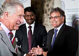 HRH Prince of Wales with Sri Naga Pavan Addepalli and Professor Rod Thomas Photo courtesy Rhys Webber