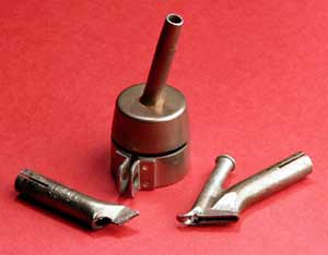 Fig.1. Plastics welding nozzles (left to right) tacking nozzle, round nozzle, high speed nozzle
