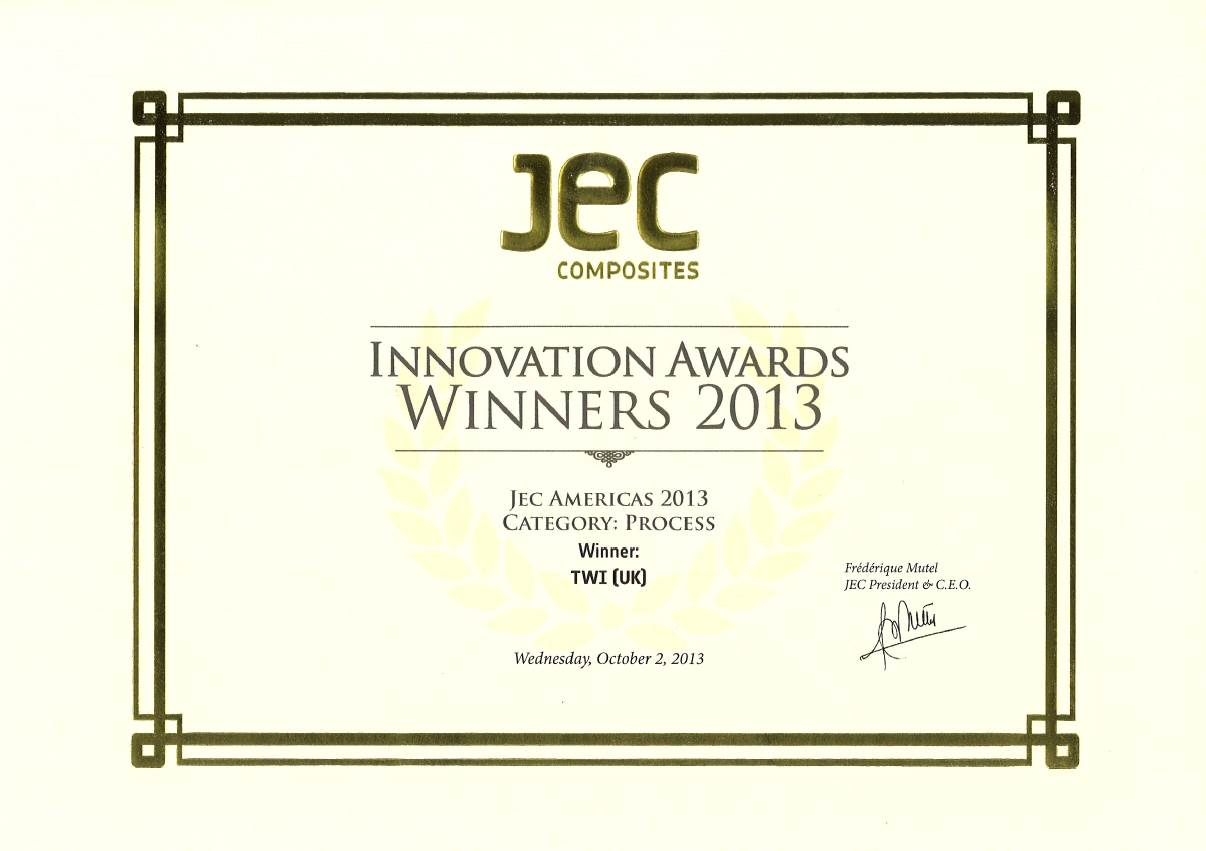 JEC innovation award for fibre-reinforced plastics process consortium.