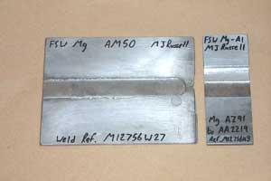 Sections of magnesium to magnesium, and magnesium to aluminium friction stir welds