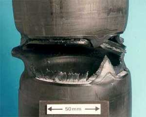 Close up of tested sample showing failure in polyethylene butt fusion weld