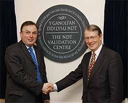 Andrew Davies AM (left) and The Rt Hon Alun Michael MP (right) open The NDT Validation Centre