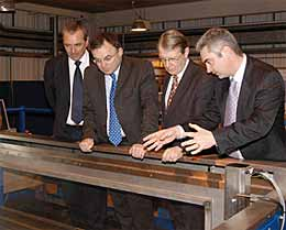 Dr Bob John, Chief Executive of TWI (far left) and Philip Wallace, manager of The NDT Validation Centre (far right), present some of the state-of-the-art equipment housed at the Centre to Andrew Davies AM and Alun Michael MP.