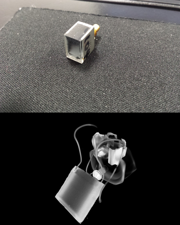 An ultrasonic probe from the outside (top) and as viewed using the microscope (bottom)