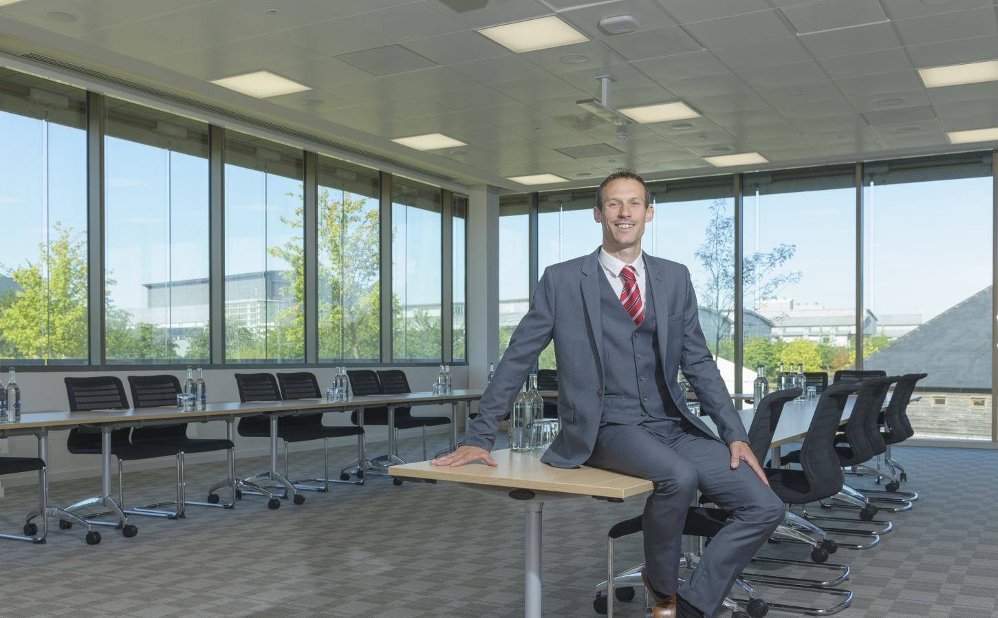Andrew Bell, new manager of the Granta Centre, in one of its modern conference rooms
