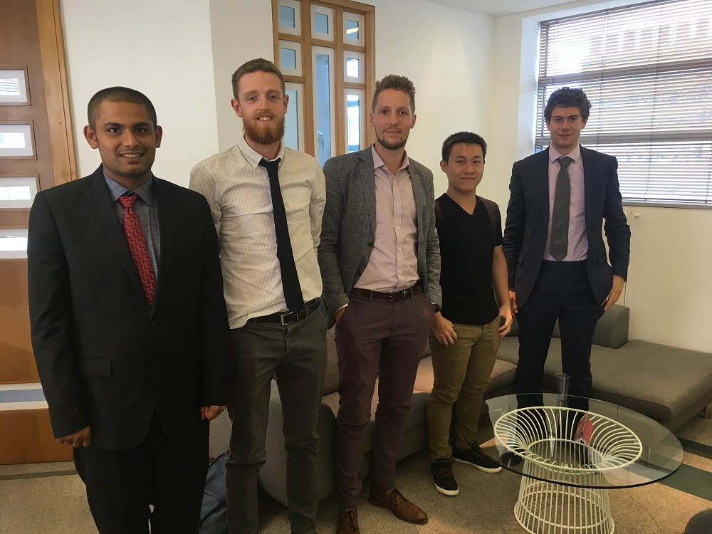 From left to right: Diptak Bhattacharya (Colorado School of Mines), Michael Walker (University of Leicester), Frank Niessen (Technical University of Denmark), Boning Ding (University of Cambridge) and Thomas Edwards (University of Cambridge)