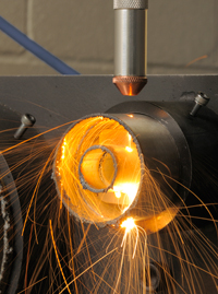 Single sided tube-in-tube cutting with a 5kW Yb-fibre laser
