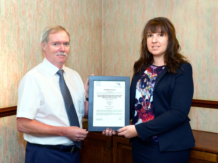 RJD Engineering's Alan Powney with Emma Boggust, TWI CL, receives FPC Certification. Photograph courtesy of Andy Bernard, Video and Memories.