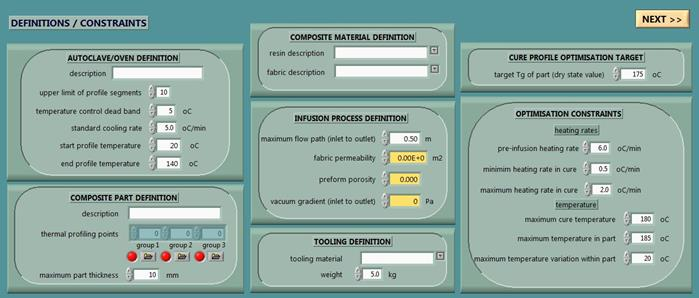 User interface for defining the process and the materials used