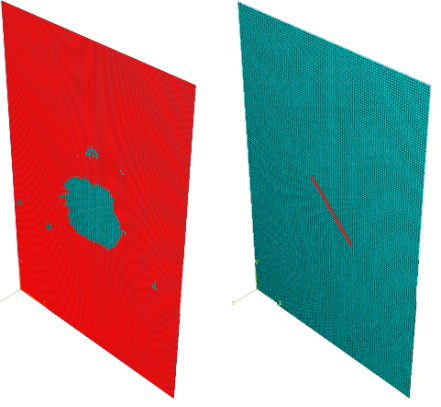 Figure 1 Example of simulated delamination (left) and matrix crack (right)