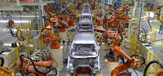 Figure 1 Robotic welding used in automotive production (photo copyright @ ABB)