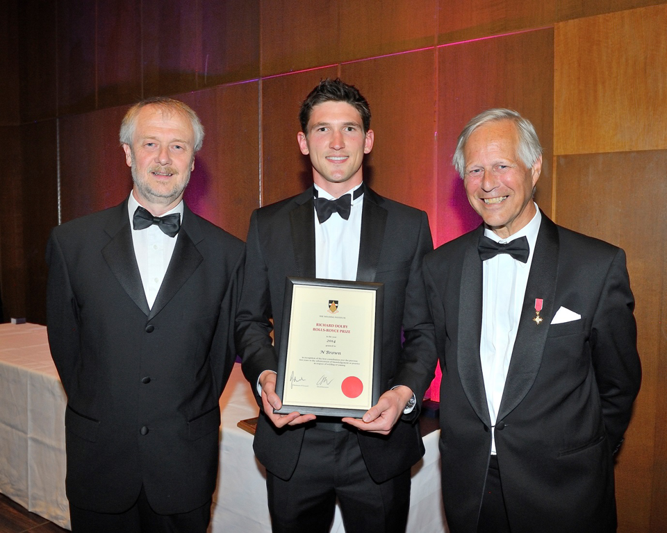 2014 Award: Nick Brown pictured with Richard Dolby OBE (right) and Steve Beech, Rolls-Royce.