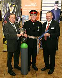 Professor John Irven and Dr Bob John with the Lord Lieutenant of Cheshire, Mr William Bromley-Davenport