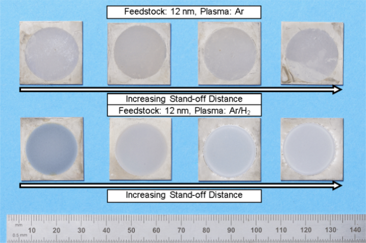 Fig. 3 Photograph showing 12 nm titania feedstock coatings produced by SPS in Ar and Ar/H2 plasma conditions at the range of stand-off distances. Coatings are produced as circles due to their mounting in the water cooled jig.