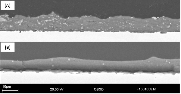 Fig. 10 The cross sections of SPS titania coatings produced in an Ar /H<sub>2</sub> plasma (a) and Ar plasma (b), respectively. Some damage was visible at the substrate coating interfaces. This damage can be said to have occurred during sectioning or metallographic grinding/polishing as there is no mounting epoxy in the void. Had the damage occurred during spraying, this void would be filled due to the use of vacuum impregnation during epoxy encapsulation before sample sectioning and mounting.