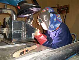 Stuart Greer competing in the welding section of the WorldSkills competition in Japan