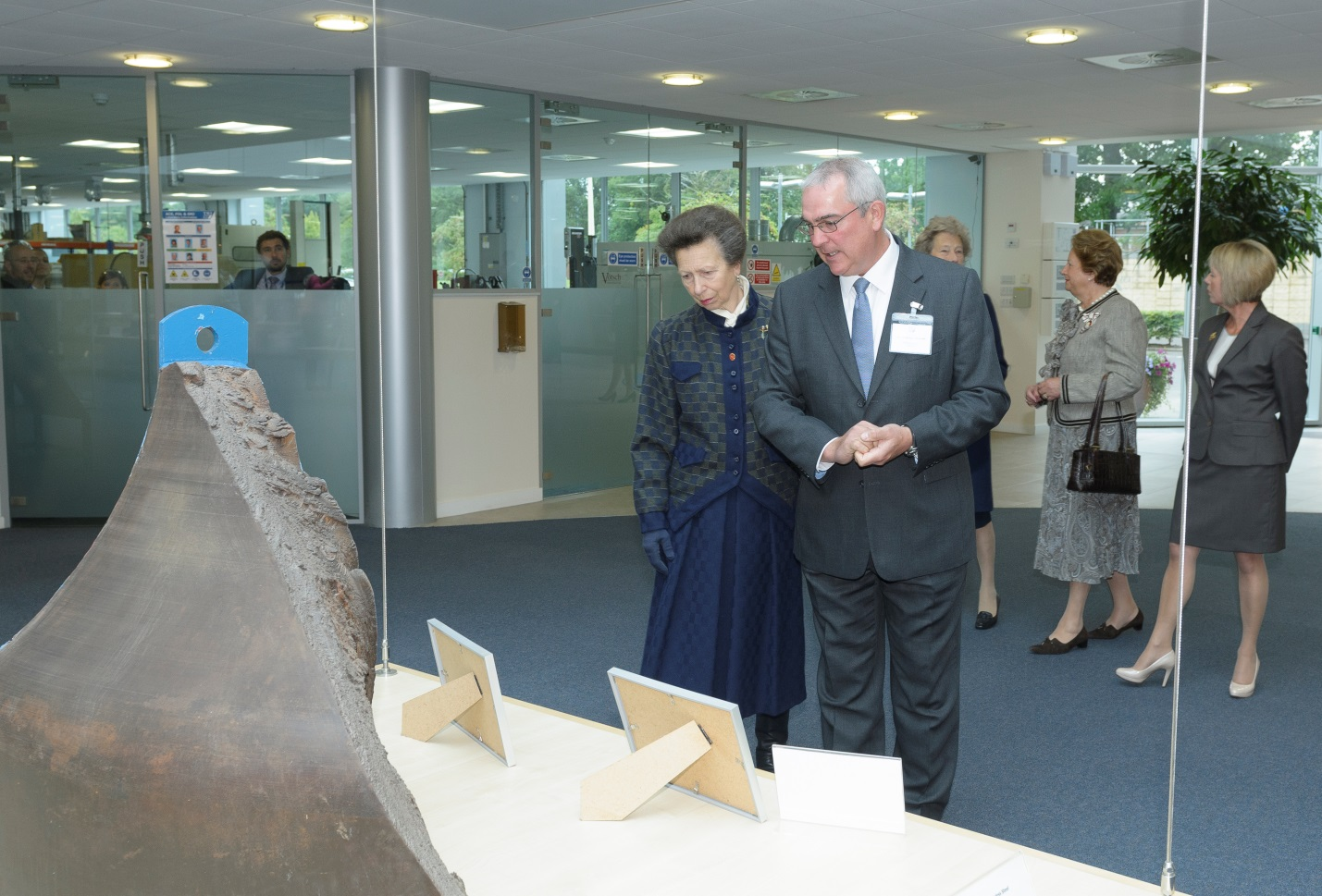 The piece of the brittle fracture preserved at TWI, being shown to Princess Anne in 2015