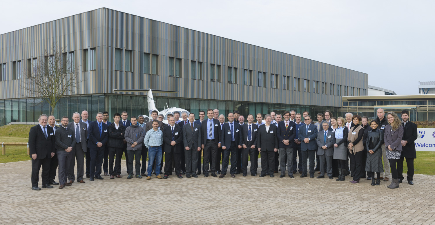 Attendees assembled in front of the first FSW plane outside TWI