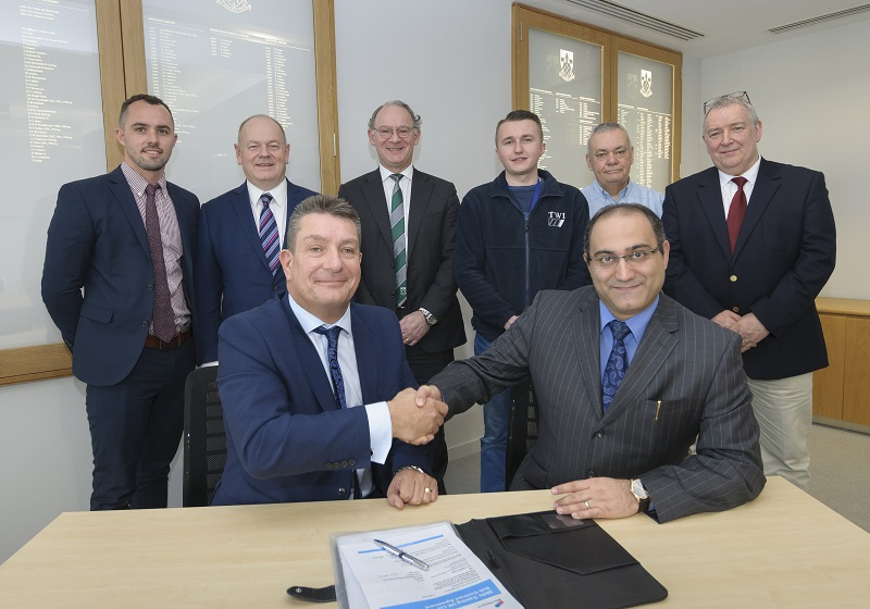 (Left to right, front first) Stephen Crawley, Shervin Maleki, Sam Cunningham, Martin Dunford, CEO of Skills Training UK, Efan Jones, Keith Malone