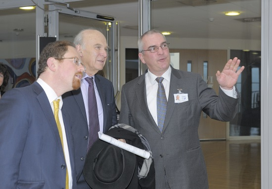 Vince Cable and Julian Huppert with Christoph Wiesner