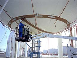 Fig.1. Automated inspection of LPG storage spheres Copyright M Kirby