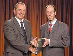 Philippe Bastid (right) receives the Best Materials & Design Innovation award from TWI Chief Executive Bob John