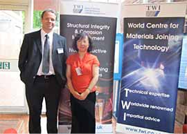 Dr Paul Woollin and Dr Lijuan Zhang of TWI at the Research Forum in Leicester