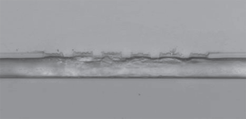 Fig. 7 Sample of PMMA on glass substrate in cross section with 5 μm wide channels and 1 μm infrared absorber tracks at the tops of the channel walls (and some in between) prepared using EB lithography.