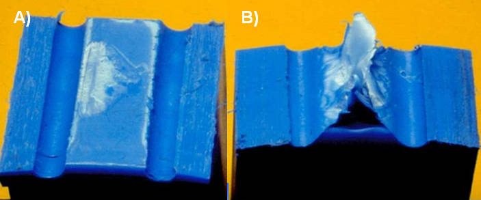 Fig. 7 Example of: a) brittle failure and b) ductile failure in a tensile test with a waisted specimen geometry