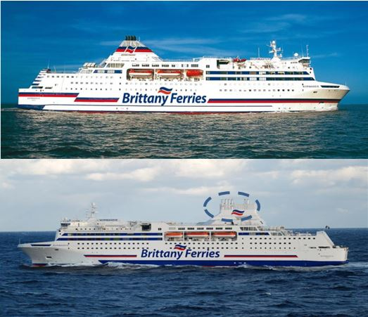 Figure 6: M/V Normandie before and after retroffiting (©: BRITTANY FERRIES)